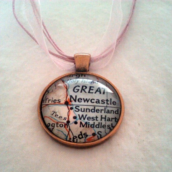 Newcastle England United Kingdom Vintage Map Pendant with Necklace - OOAK - Necklace Options - Free Shipping