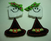 Happy Ghosts and Witch Hat  Feltie  Embellishments