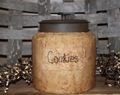 Treasury Item-Primitive Grubby Kitchen Farmhouse Cookie Jar-Label can be personalized with your choice of wording