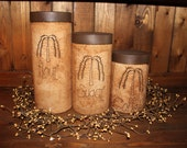 Primitive Willow Tree Grubby Jar Canister e piece Set-Flour, Sugar, Tea-primitive labels in your choice of wording and color