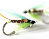 Fly Fishing Silver Cufflinks - Hand tied, JC Blue and Green feathers