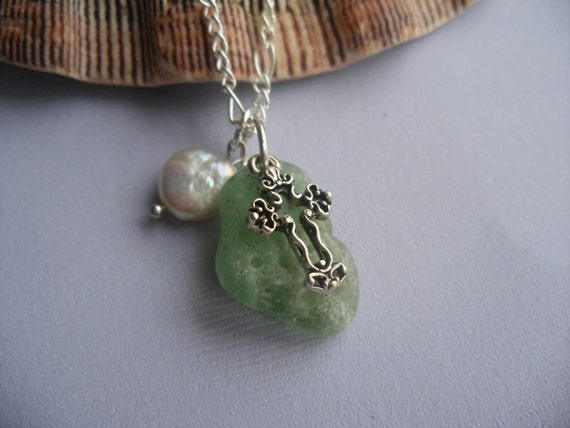 Green Bonfire Melted Scottish Sea Glass Necklace with Pearl and Cross Charm