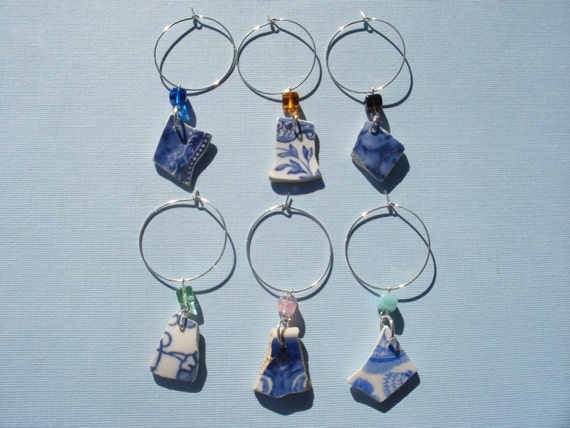 Scottish Sea Pottery Wine Charms Set of 6 in Blue and White