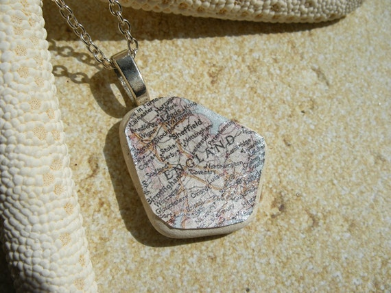 Map of England Necklace on Scottish Sea Glass Pottery