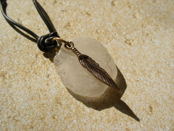 Mens White Scottish Sea Glass Necklace with Feather Charm