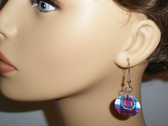 RESERVED for Margret Scottish Plaid Tartan Earrings-Pink and Blue