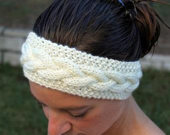 Cream Ear Warmer, Braided Earwarmer, Cable Knitted, Winter Headband, Hand Knit, Head Wrap, Knit Headband, Hair Band