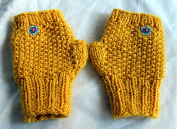 Yellow Fingerless Gloves with Buttoned Flowers - Ready to Ship