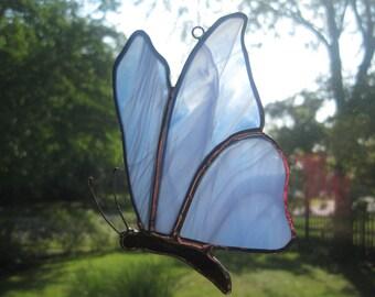 Blue Streaked Stained Glass Butterfly Suncatcher
