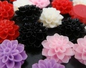 Wholesale Resin Flower Mix Resin Dahlia Flowers Flatback Cabochons 16 mm/ 25 pc