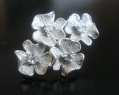 Matte Silver Sterling Silver 4 flower Earring Findings, Connectors, Pendants, 2 pc, BH18596