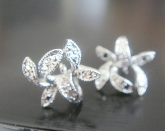 Silver Sterling Silver Post Flower Crystal earring post Findings, setting, 2 pc, JE50239