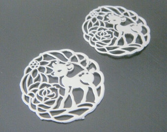 Rhodium silver rain Deer Connector,pendant, findings, 2 pc, KH65354