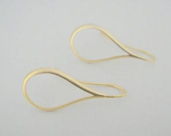 Matte gold Long Teardrop Earwire  Earrings Findings, 2 pc, K37735