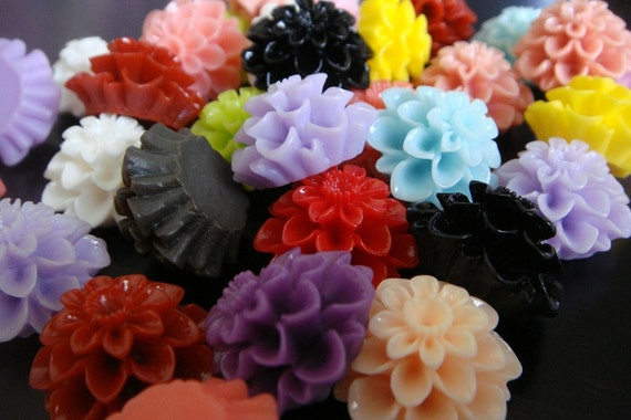 Mixed Resin Cabochon Flower Embellishments 20x12mm, 50 pc