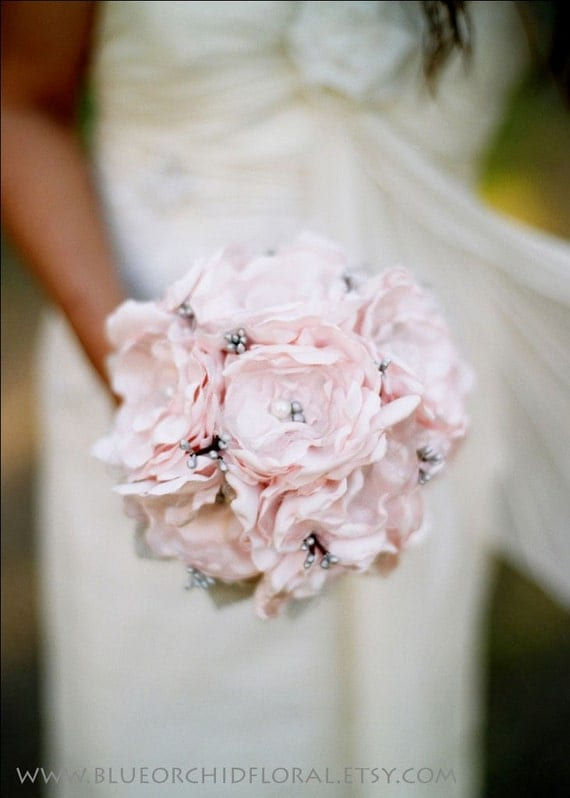 Bridal Bouquet Pink & Grey Fabric Flower Wedding Bouquet