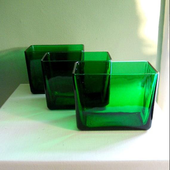 1950s Translucent Emerald Green Glass Napkin By Mysecretvintage