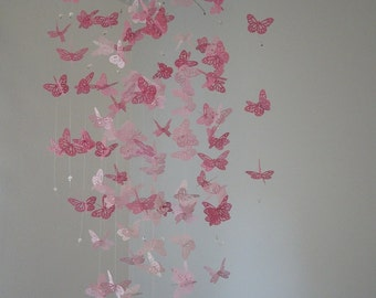 Monarch Butterfly Chandelier   Mobile -pink