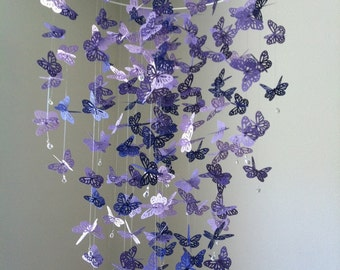 Butterfly mobile, Chandelier  Mobile - purple, baby mobile, nursery mobile, baby mobile