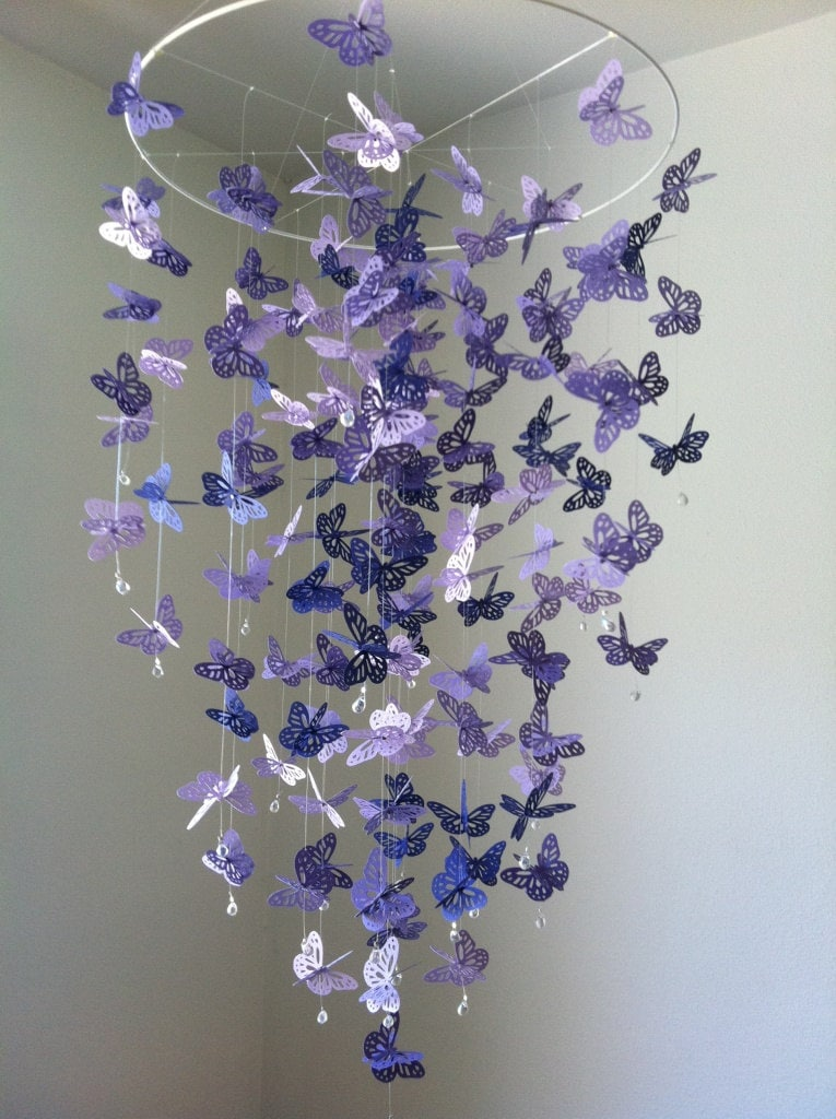 butterfly mobile chandelier mobile purple baby mobile