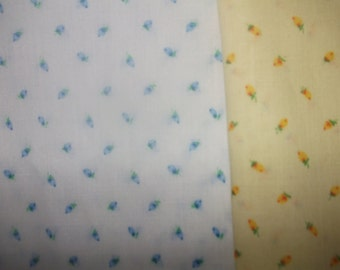 SALE Pretty Print Fabric Yellow and a White with Blue Flowers