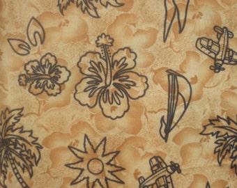 SALE       Gold and Black Hawaiian Print Fabric