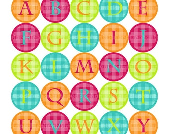 1x1 Inch Circles - Bright Gingham Alphabet Digital Circles - Instant Download - Commercial Use