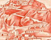 Santorini, Greece - Small Mounted Canvas Print of Greek Postage Stamp