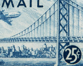 San Francisco Skyline on Airmail Postage Stamp from 1947 Enlarged on Canvas