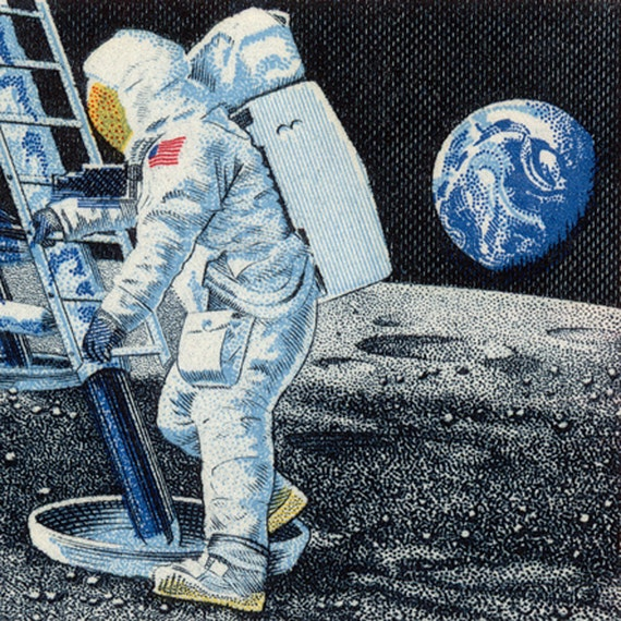 First Man on the Moon - Canvas Print of 1969 US Airmail Postage Stamp with Moon Landing