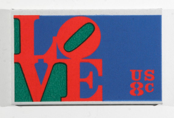 Love - Canvas Print - Robert Indiana's US Postage Stamp - Enlarged, Stretched and Mounted to 8x13 inches
