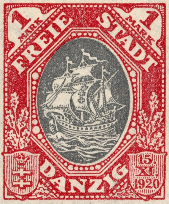 9.5x8 - Hanseatic Trading Ship - 1921 Postage Stamp from Danzig Enlarged on Canvas