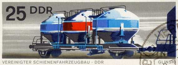 Multiple Tank Train Car - 9x17 Mounted Canvas Print - DDR postage stamp from 1973