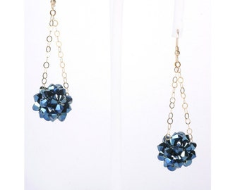 Navy Dangle Earrings - 14K Gold Filled and Midnight Blue Swarovski Crystals