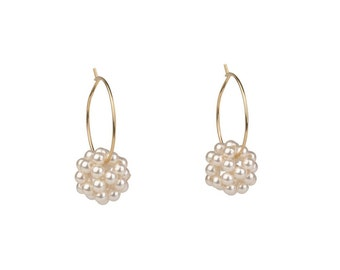 Pearl Hoop Earrings - 14K Gold Filled and Cultured Pearls