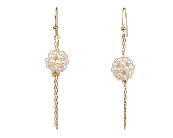 Pearl Dangle Earrings - 14K Gold Filled & Cultured Pearls