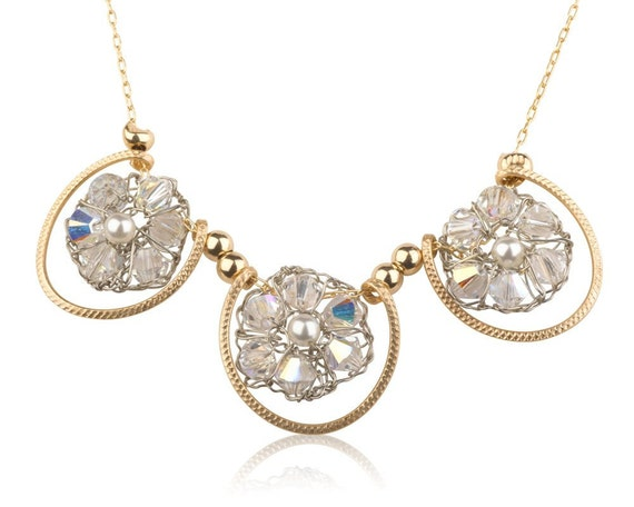 Crystal & Pearl Necklace 14K Gold Filled