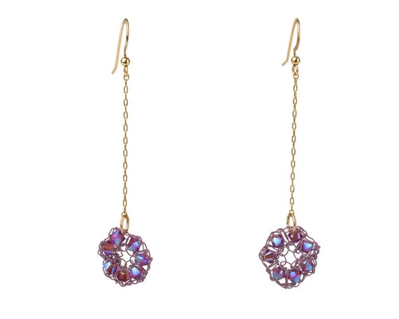 Purple Dangle Earrings - Swarovski Crystals & 14K Gold Filled