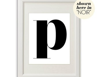 LETTER P (in NOIR - Black on White) BEAUTIFUL 8x10 on A4 Poster Print