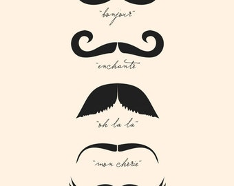 Monsieur Moustache (in Cream and Black) No. 020 - 8x10 French Printable Digital Download Collage Sheet. FREE Delivery via email