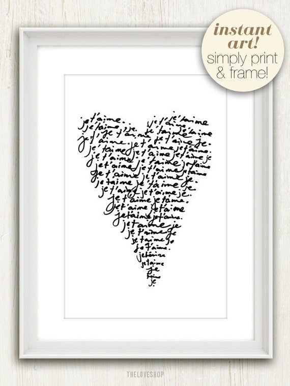 Je Taime (I Love You) French Quote (in Jet Black and White) No. 014 - 4x6 Printable Digital Download Collage Sheet. FREE Delivery via email