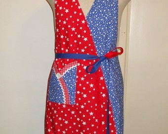 Apron Reversible Women's Patriotic Red White Blue Stars Mock Wrap with Pocket