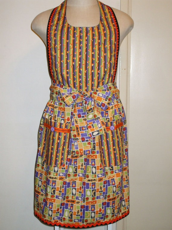Apron Vintage-Inspired Womens Halloween Cotton fabric print with pockets