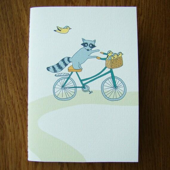 Biking Raccoon little notebook/ sketchbook