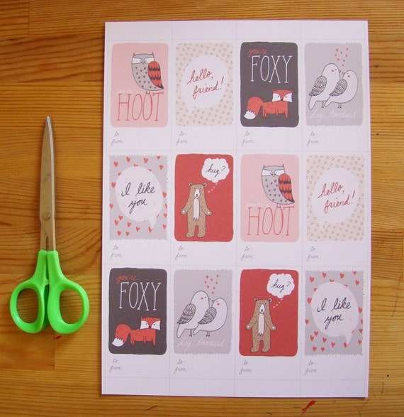 Cheeky Mini Valentines, printable PDF love notes with woodland creature illustrations