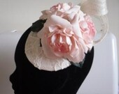 Wedding antique pink rose fascinator, vintage style with lace detail