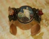 bracelet cuff fairy wings flowers gold beautiful sparkle