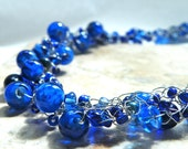 Crochet Wire Necklace with Cobalt Blue Beads