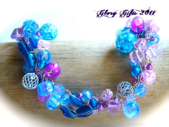 Wire Crochet Necklace...Blue Glass Bead and Purple Iridescent Mixture of Beads (Free Shipping)