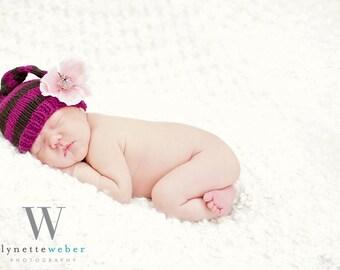 Patron en Espanol-Newborn Striped Hat Knitting PATTERN-Pdf, New Baby Gift, Photo Prop